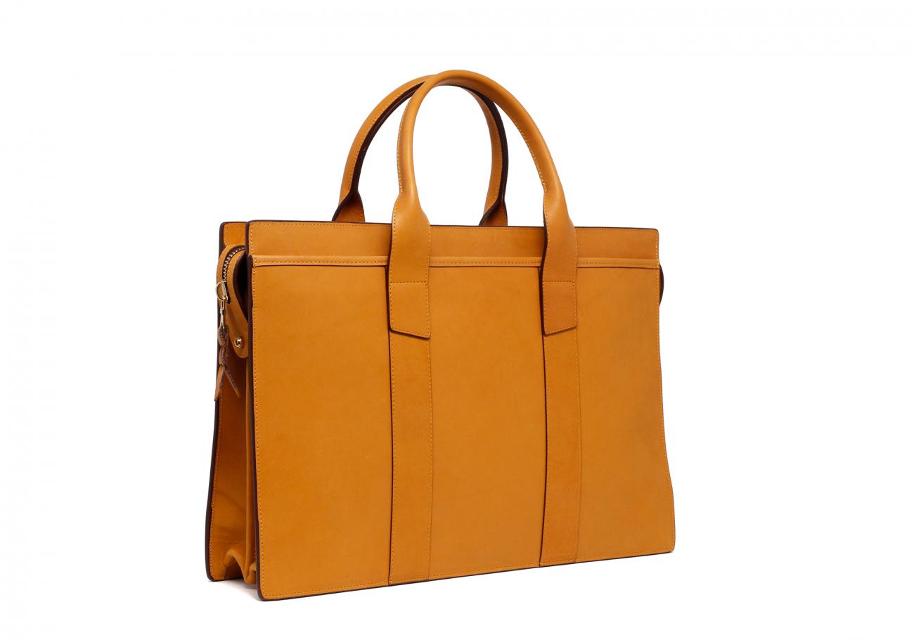 Leather Zip Top Briefcase Ochre2