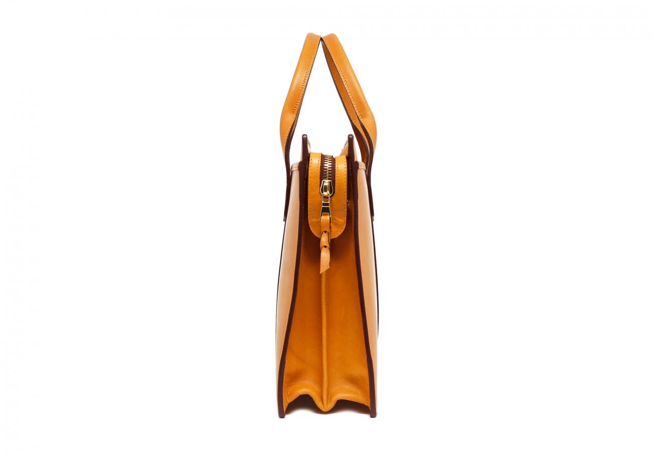 Leather Zip Top Briefcase Ochre3