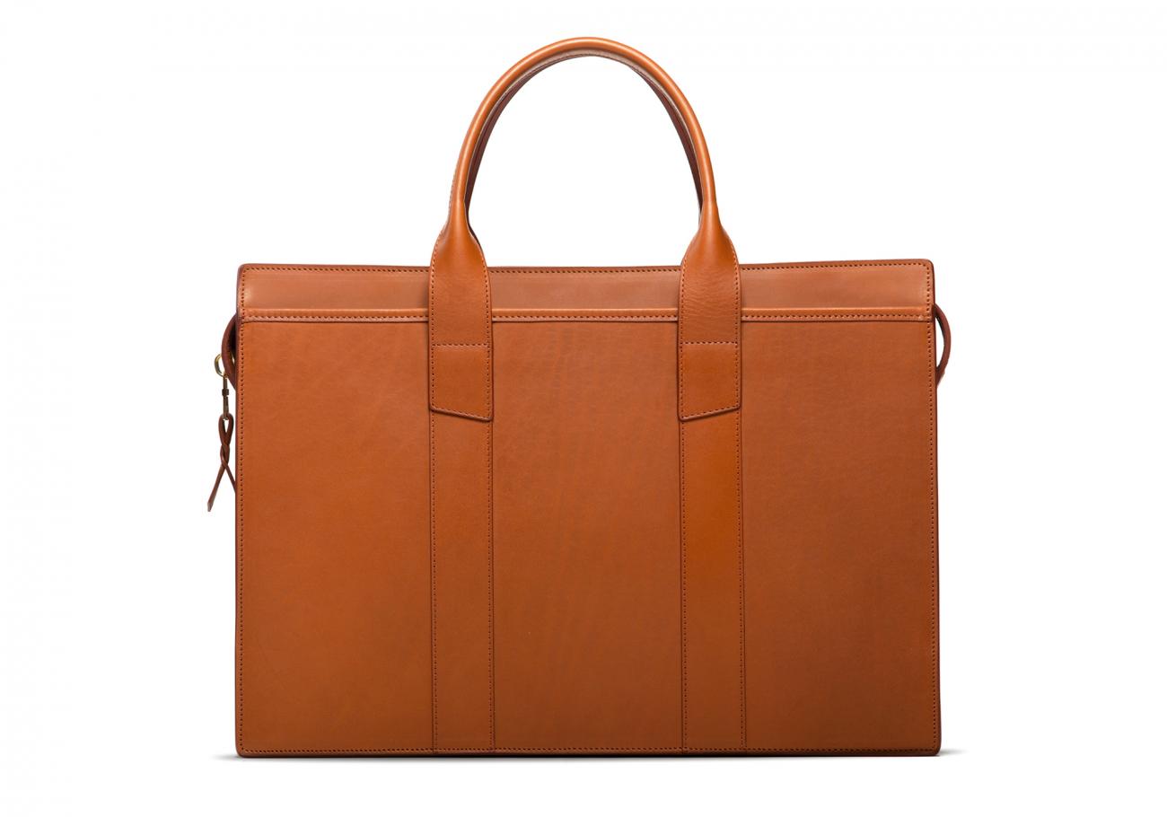 Leather Zip Top Briefcase Single Cognac1