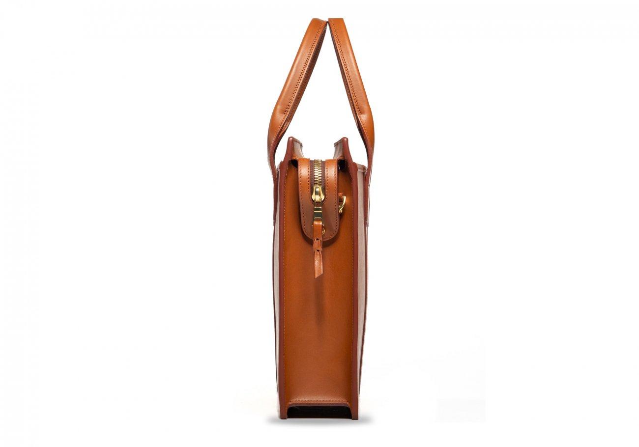 Leather Zip Top Briefcase Single Cognac10