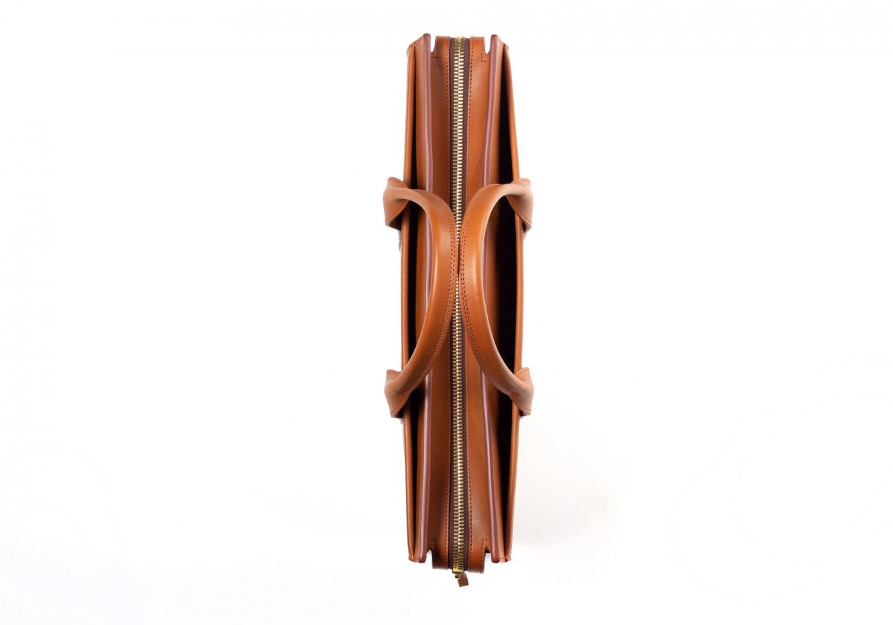 Leather Zip Top Briefcase Single Cognac11