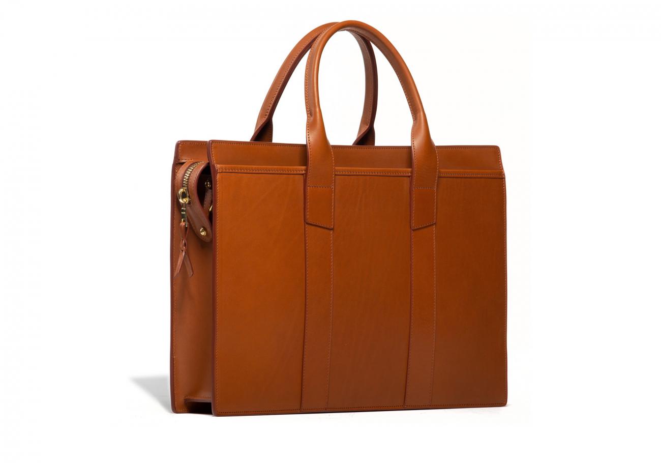Leather Zip Top Briefcase Single Cognac3