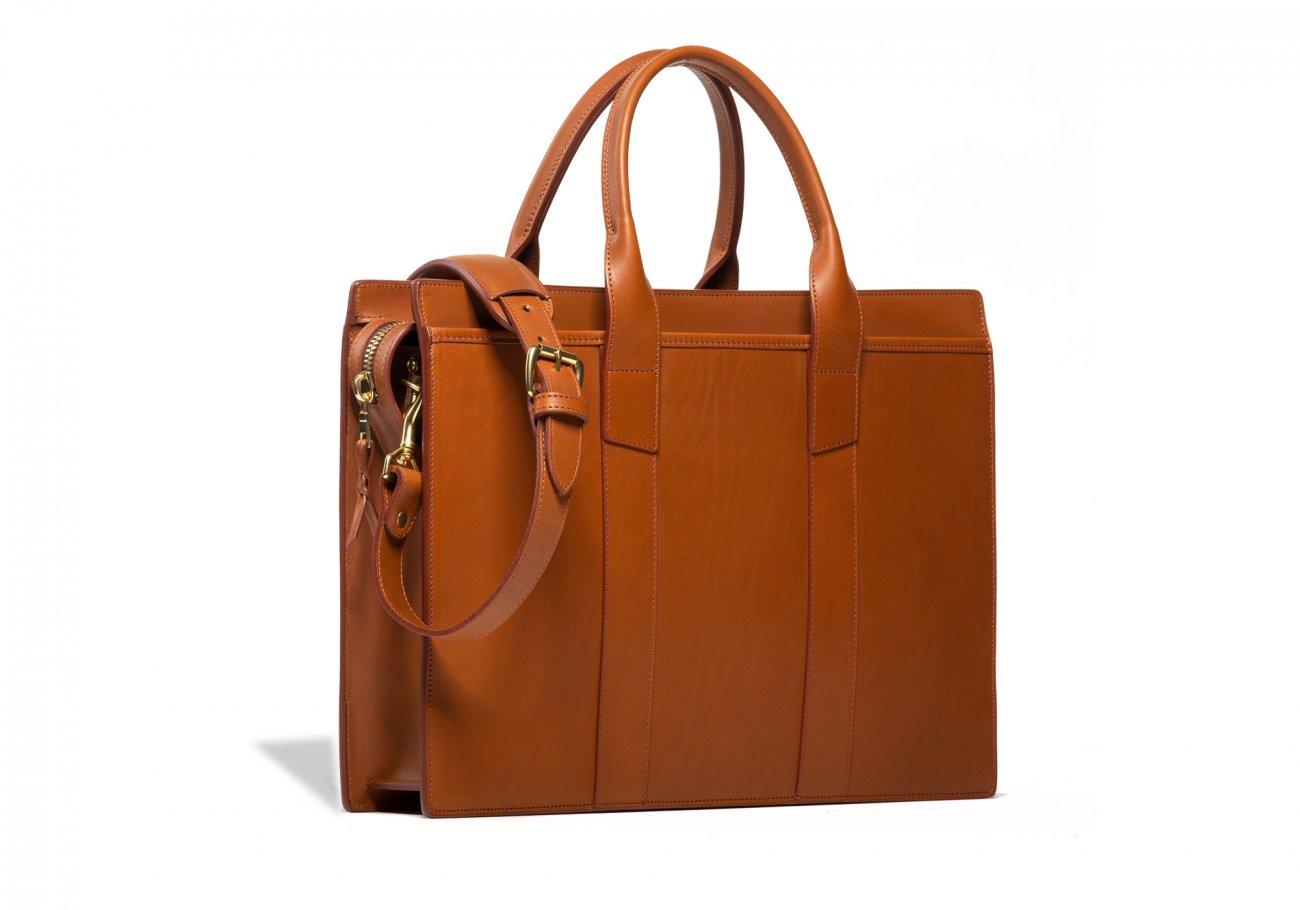 Leather Zip Top Briefcase Single Cognac4