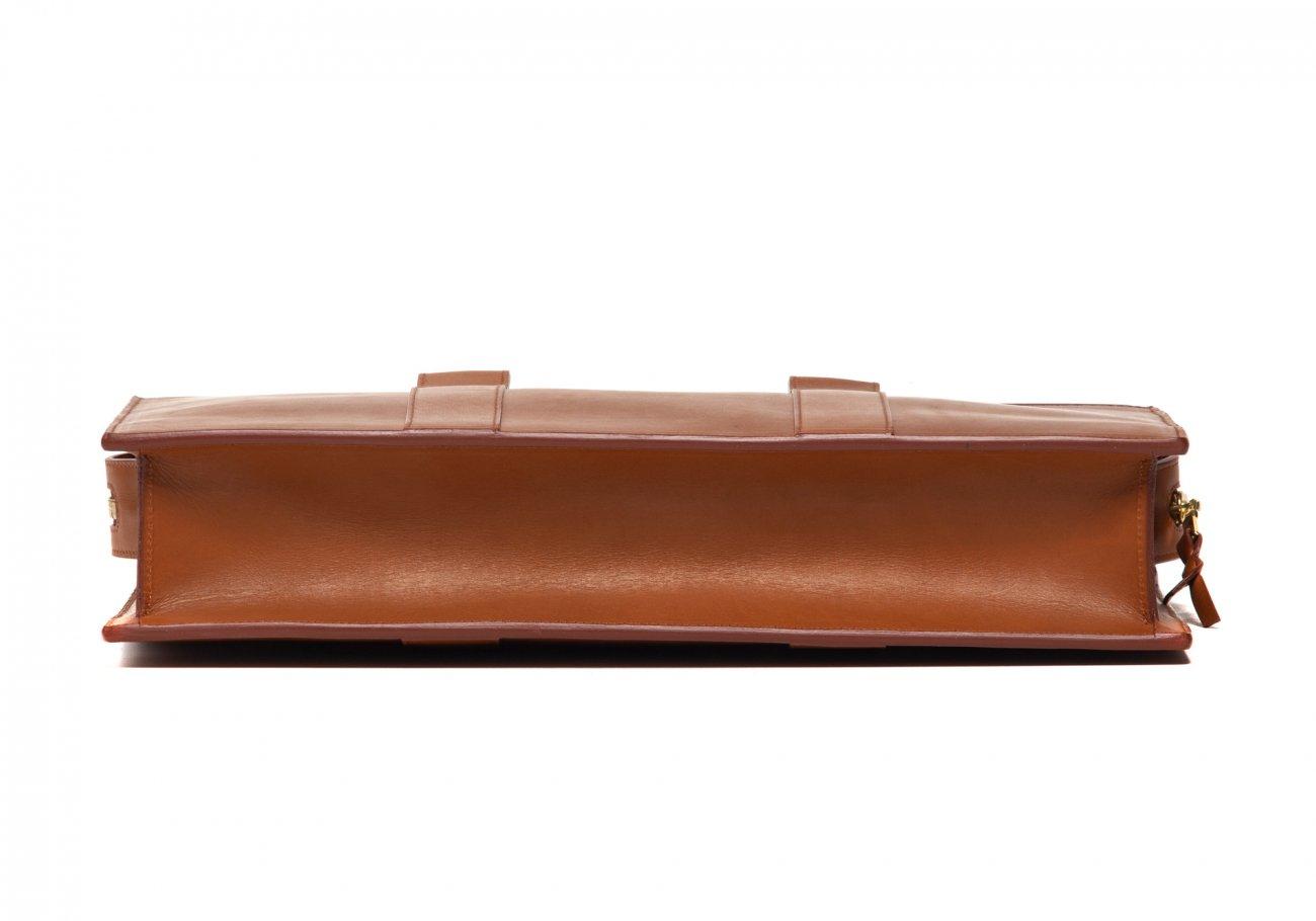 Leather Zip Top Briefcase Single Cognac5