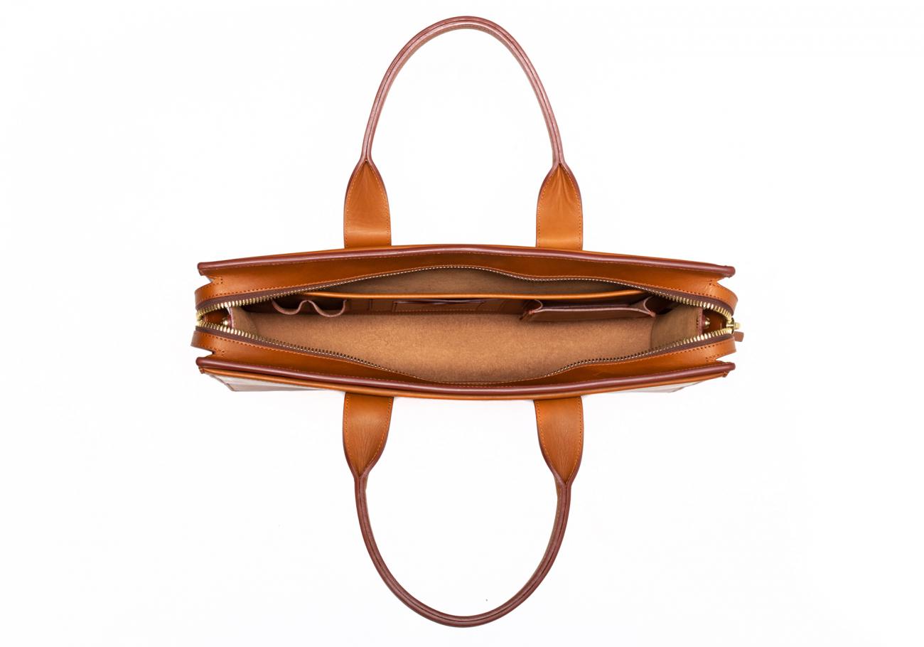 Leather Zip Top Briefcase Single Cognac6