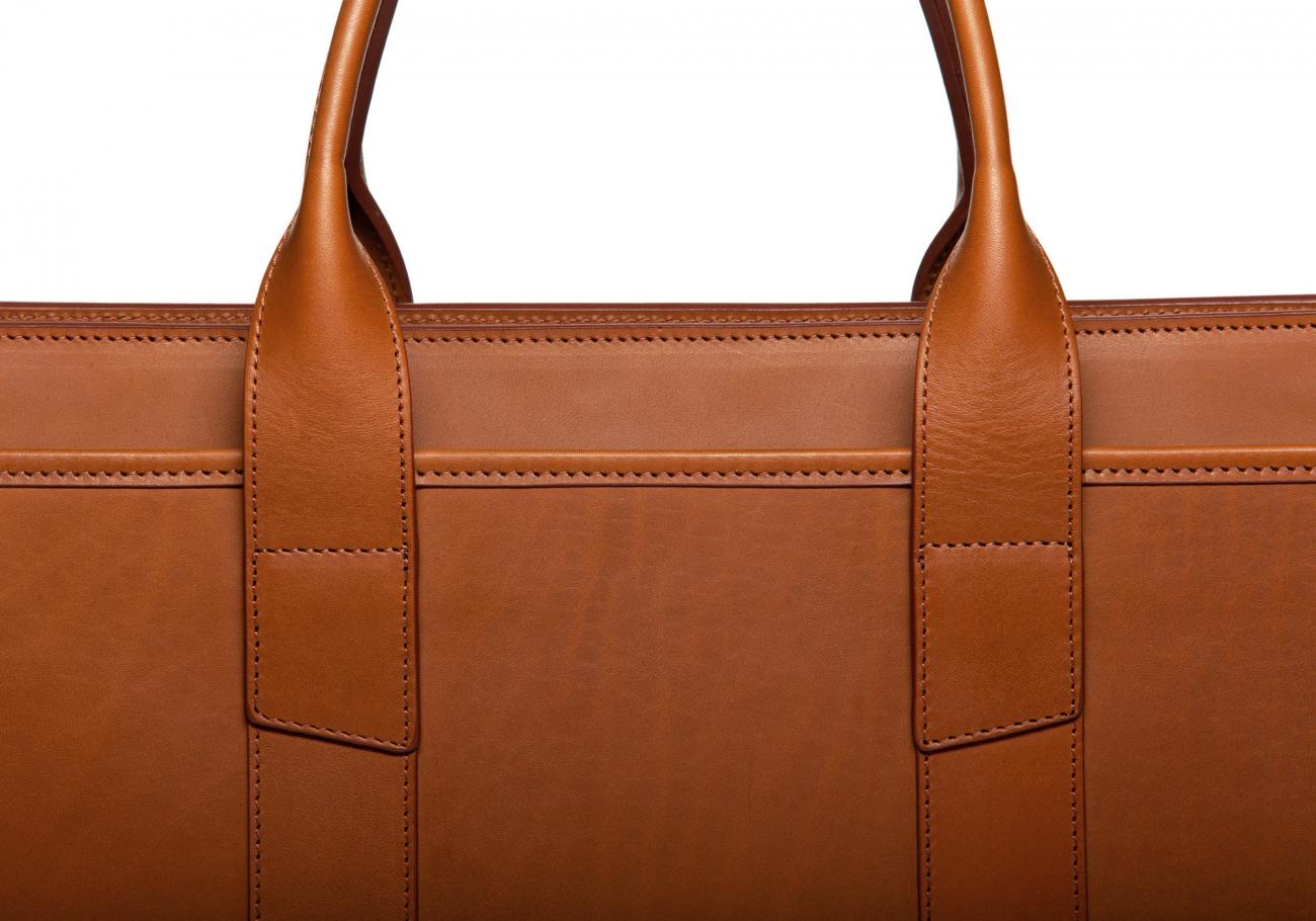 Leather Zip Top Briefcase Single Cognac8