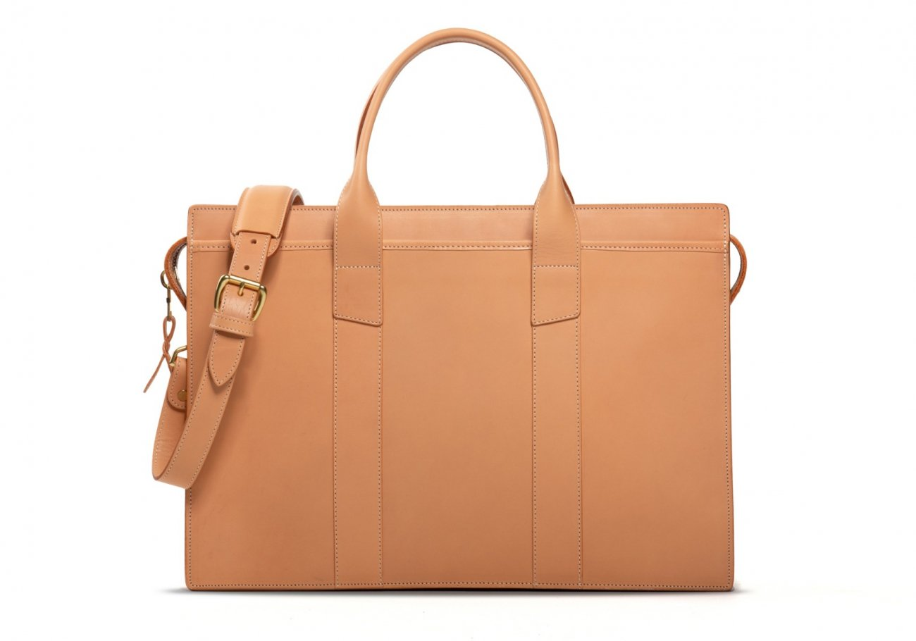 Leather Zip Top Briefcase Single Natural2