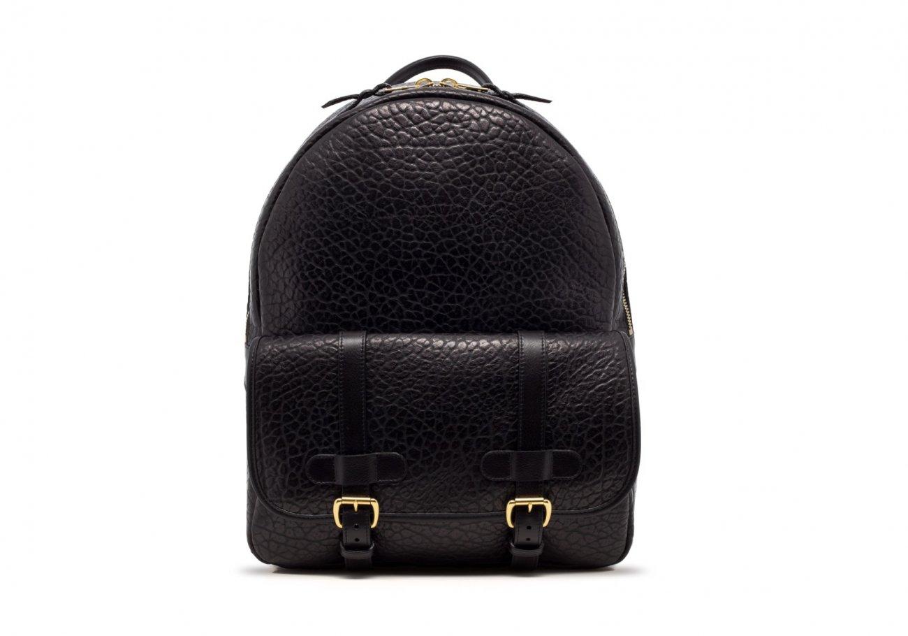 Leather Zipper Backpack Shrunken Black1 1