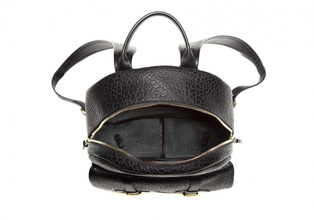 Leather Zipper Backpack Shrunken Black2 1