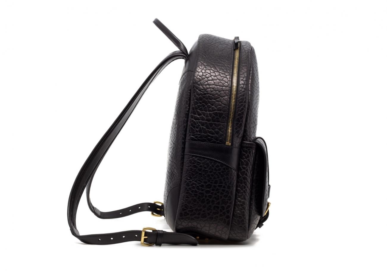 Leather Zipper Backpack Shrunken Black4 1