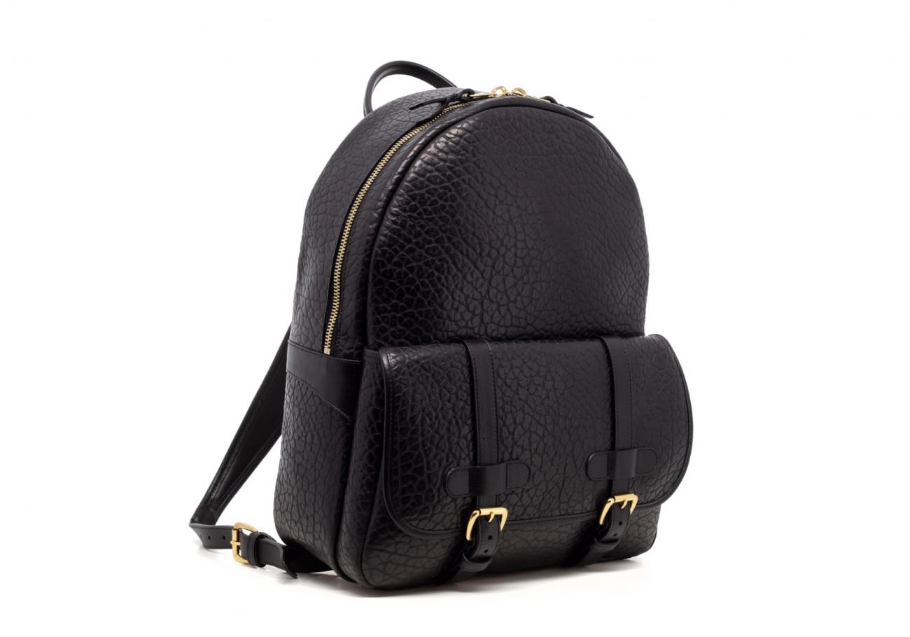Leather Zipper Backpack Shrunken Black5 1