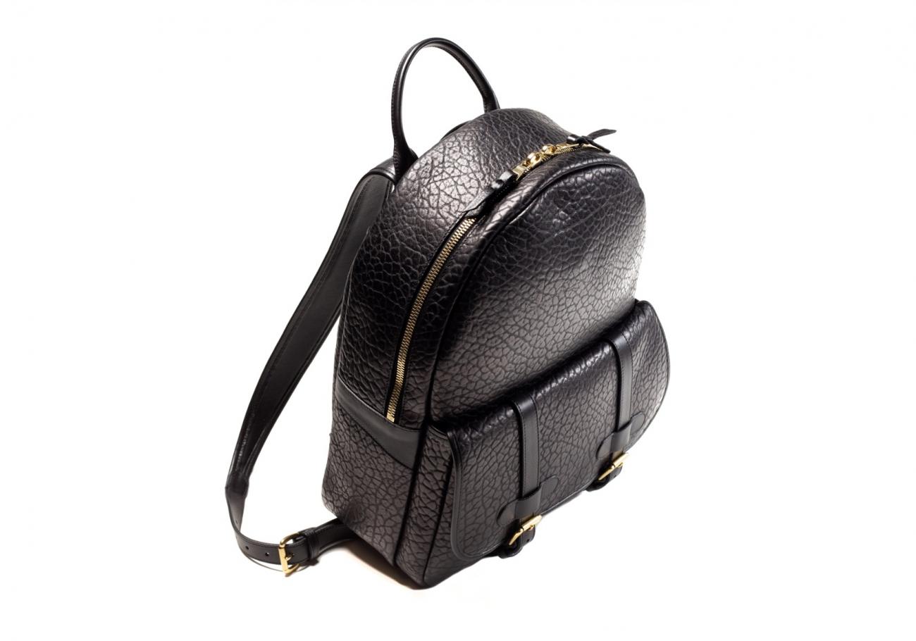 Leather Zipper Backpack Shrunken Black6 1