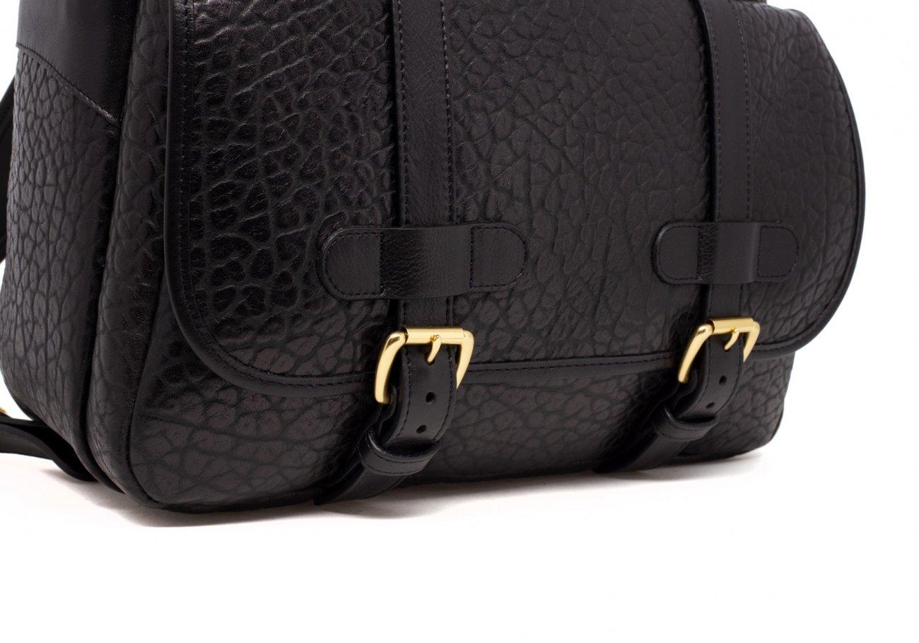 Leather Zipper Backpack Shrunken Black7 1