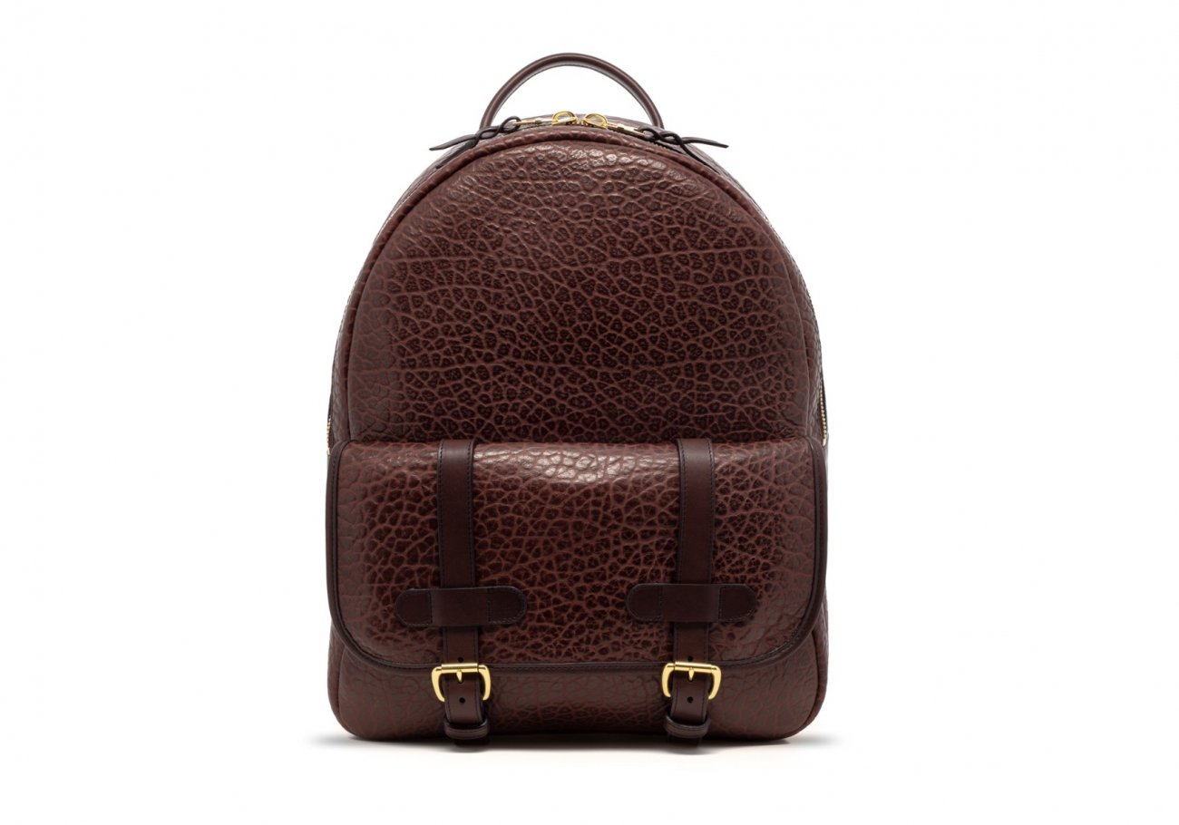 Leather Zipper Backpack Shrunken Chocolate1 1