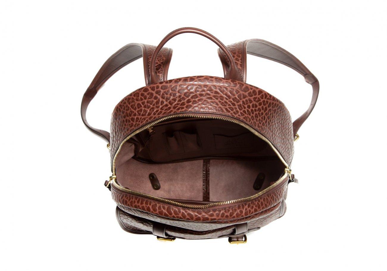 Leather Zipper Backpack Shrunken Chocolate2 1