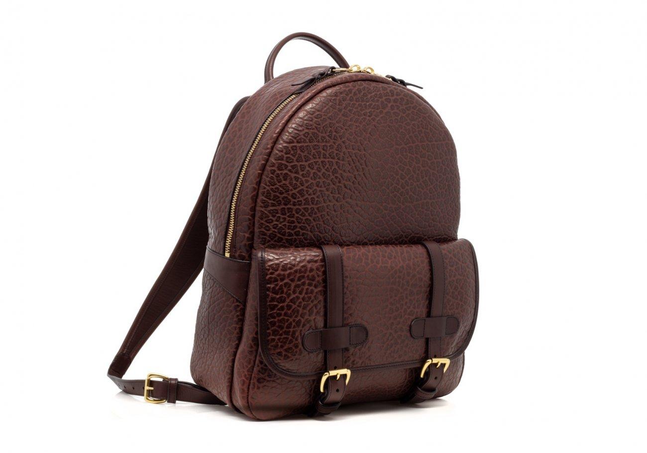 Leather Zipper Backpack Shrunken Chocolate5 1