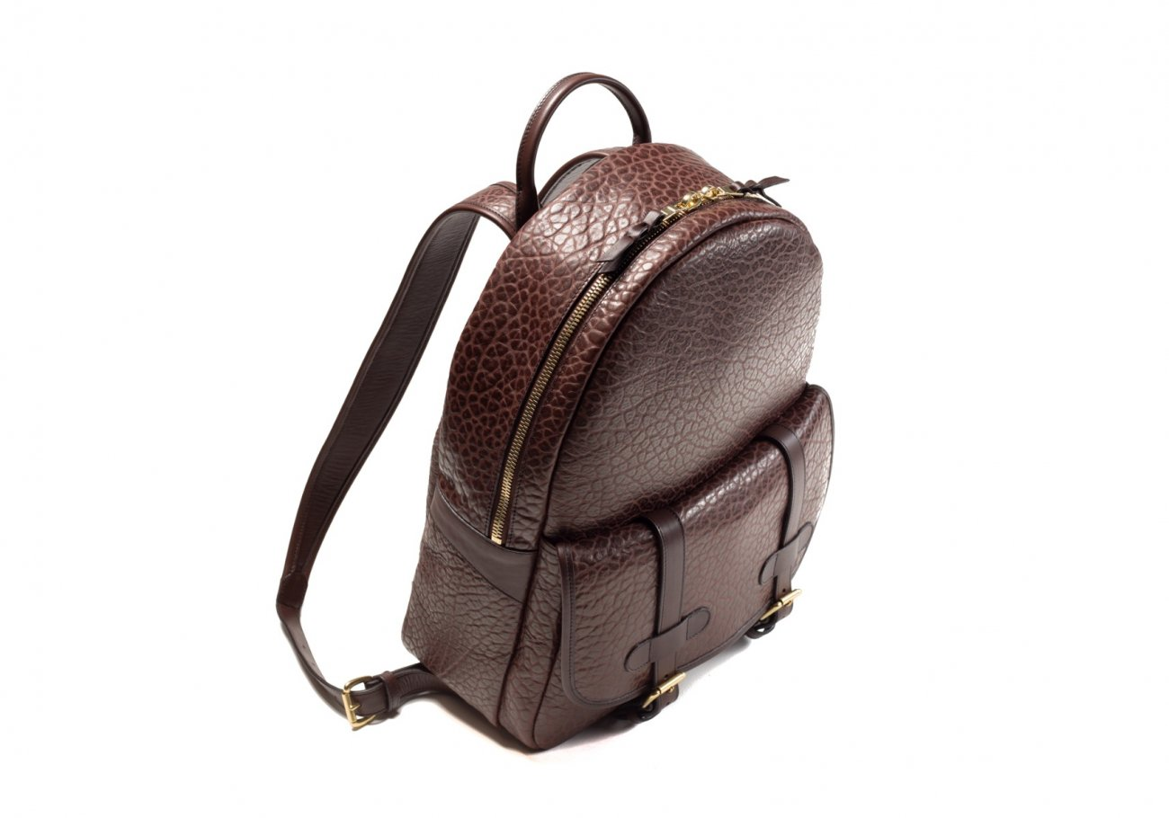 Leather Zipper Backpack Shrunken Chocolate6 1