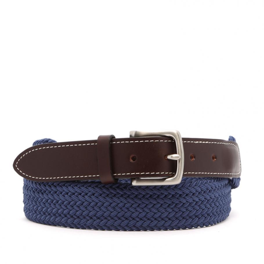Light Blue Woven Elastic Belt Leather Trim