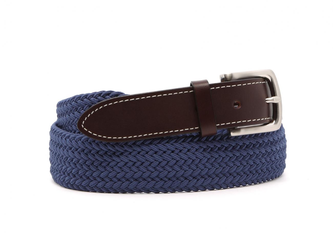 Light Blue Woven Elastic Belt Leather Trim1 10 23