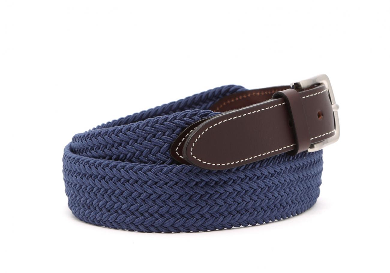 Light Blue Woven Elastic Belt Leather Trim2 10 23