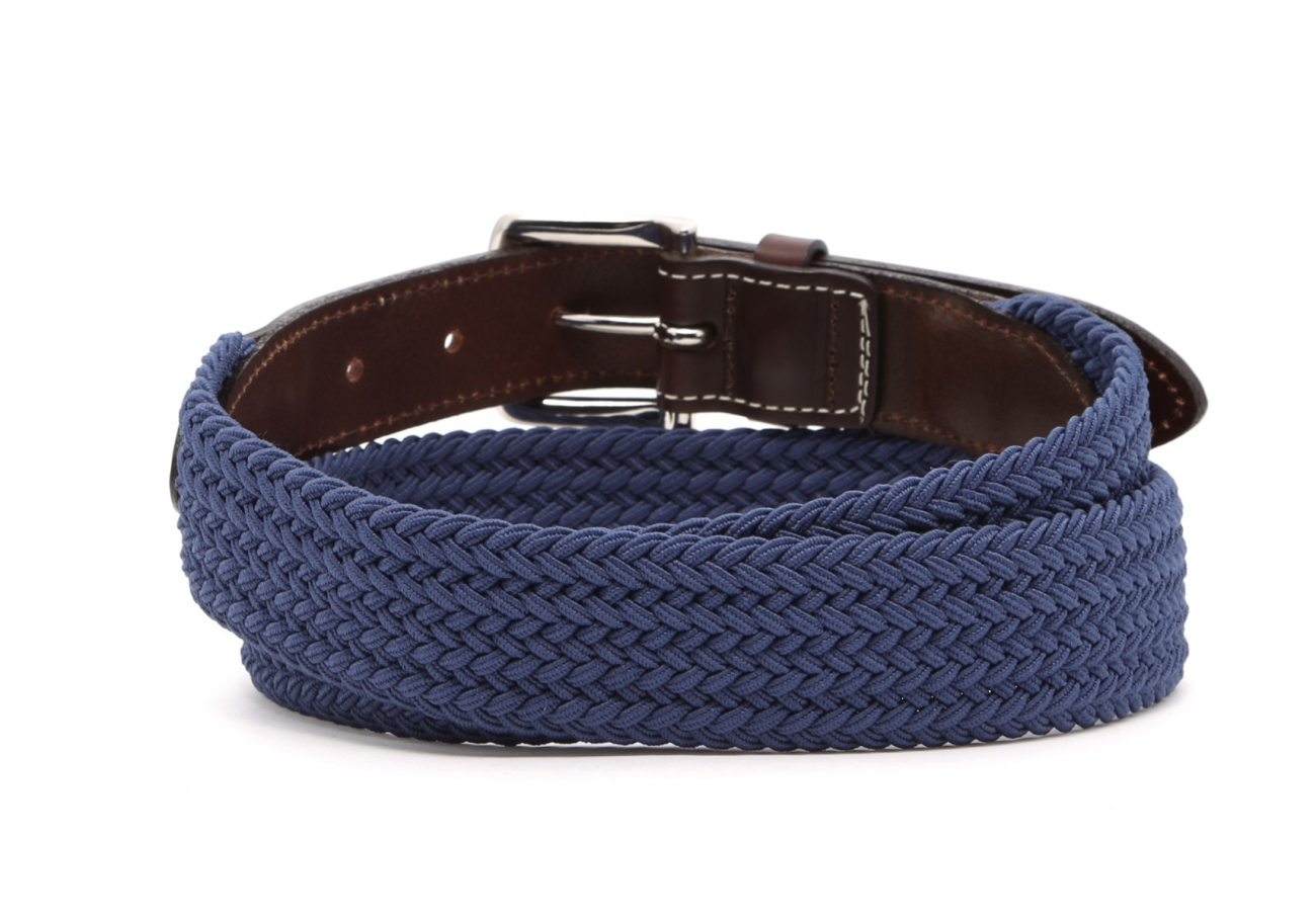 Light Blue Woven Elastic Belt Leather Trim3 8 23