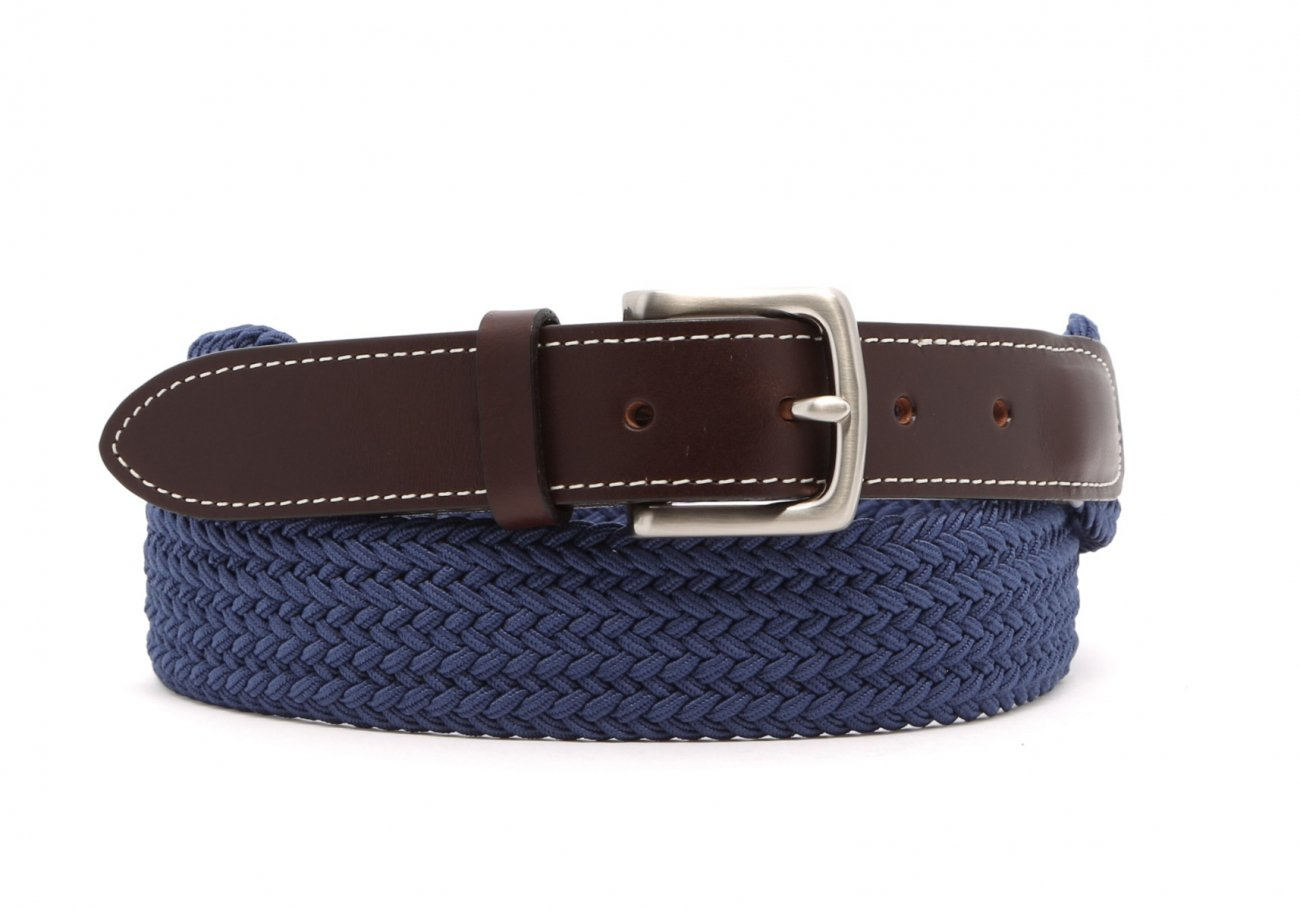 Light Blue Woven Elastic Belt Leather Trim4 13 2 3