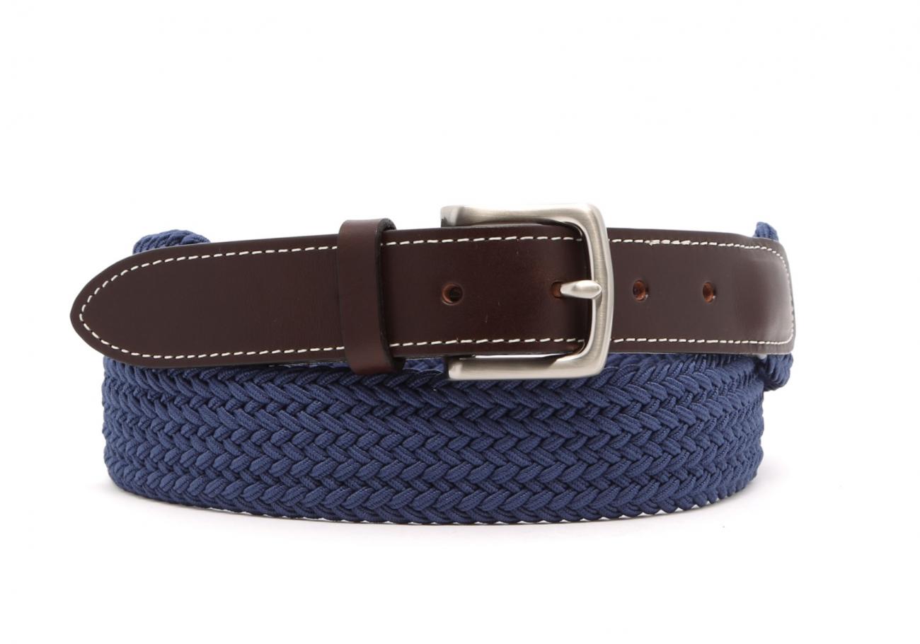 Light Blue Woven Elastic Belt Leather Trim4 13 7 2