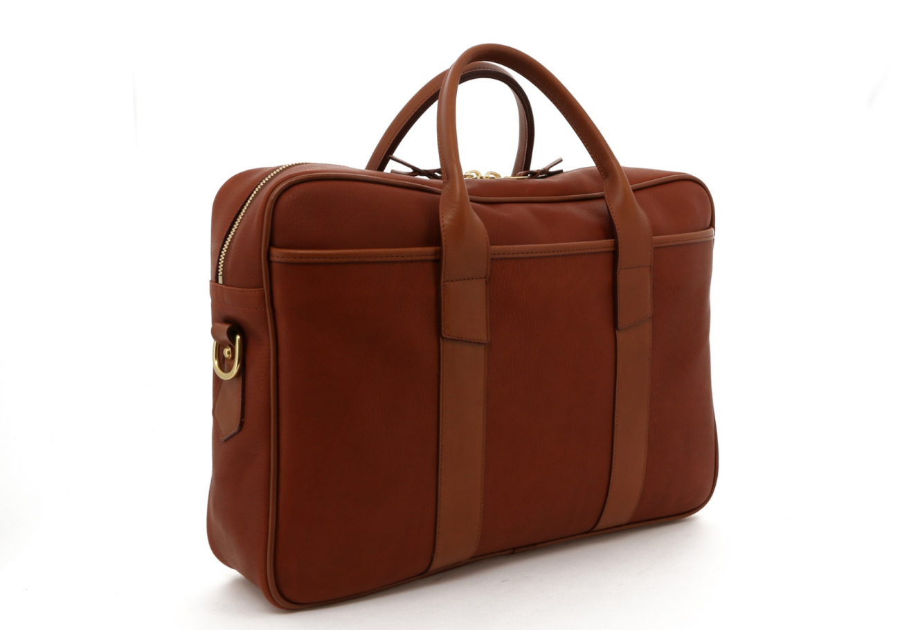 Light Brown Pebbled Leather Commuter Brief C