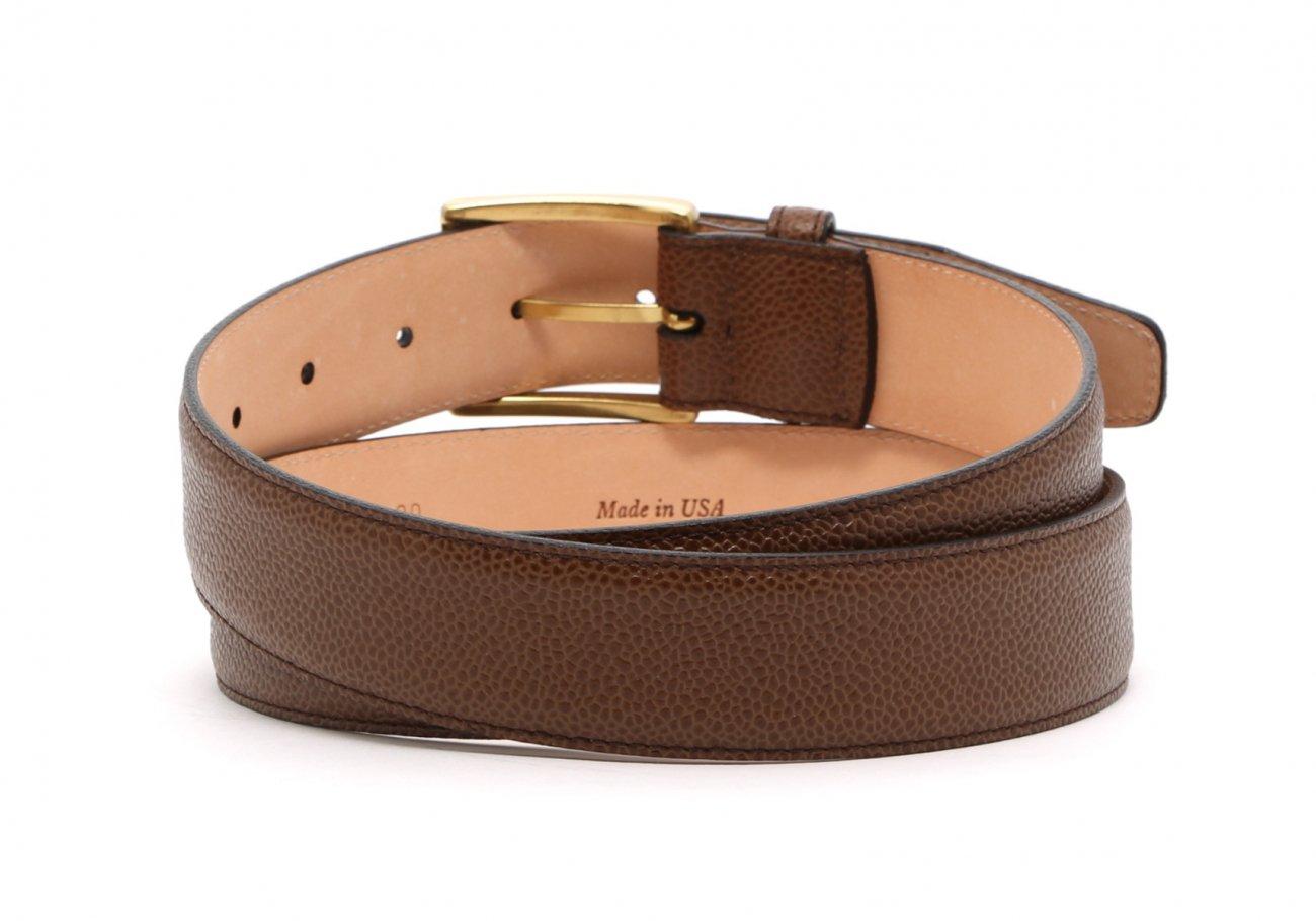 Light Brown Scotch Grain Leather Belt Brass Buckle10 1