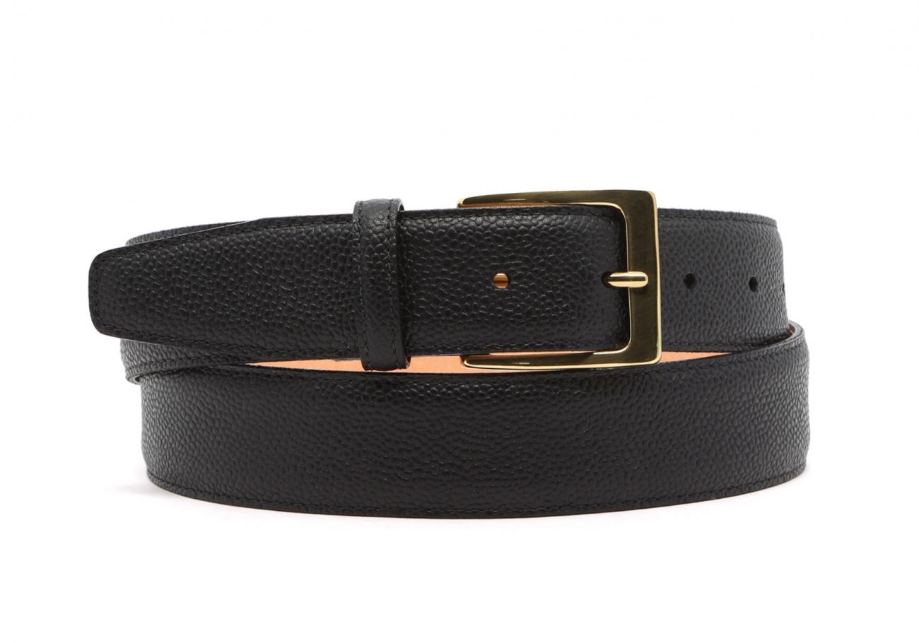 Light Brown Scotch Grain Leather Belt Brass Buckle2