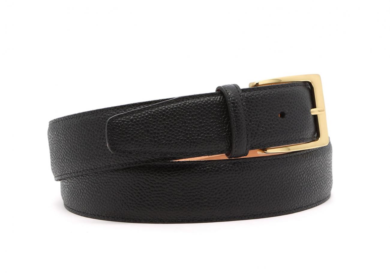 Light Brown Scotch Grain Leather Belt Brass Buckle3 7