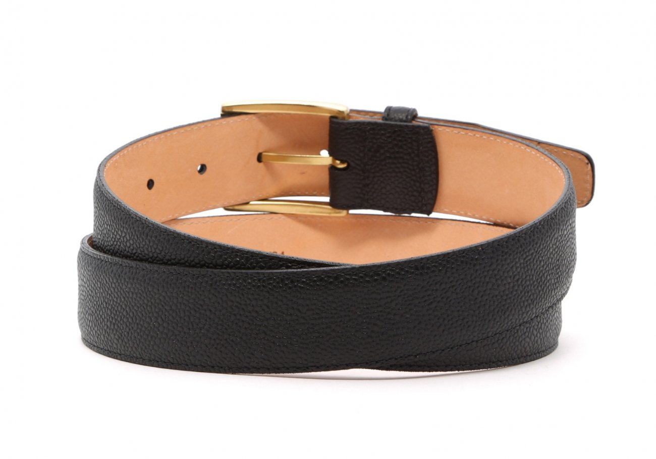 Light Brown Scotch Grain Leather Belt Brass Buckle5 7