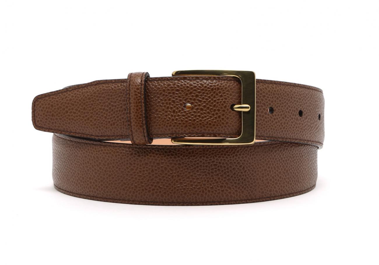 Light Brown Scotch Grain Leather Belt Brass Buckle7 7