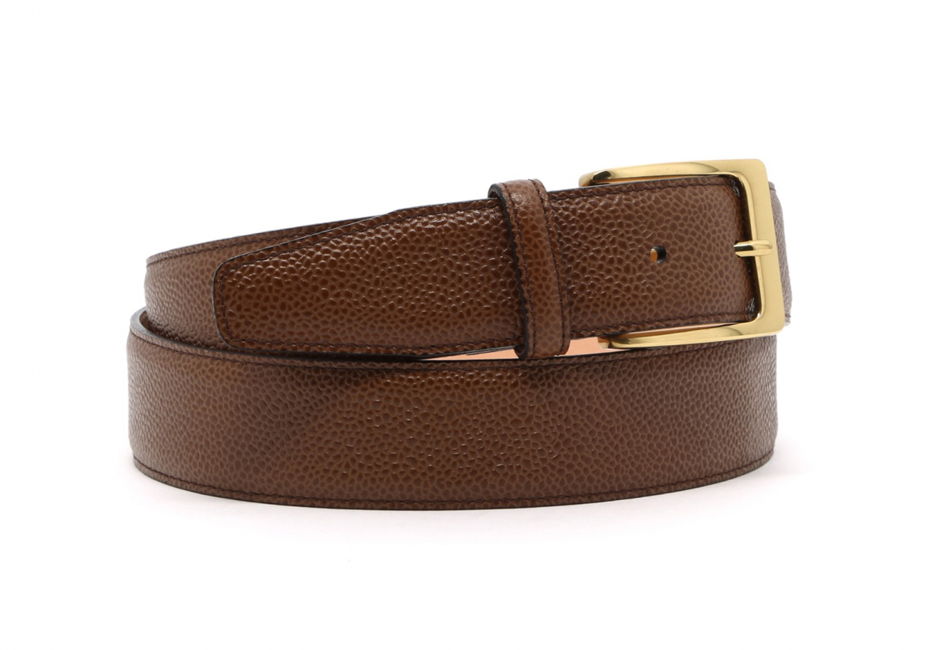 Light Brown Scotch Grain Leather Belt Brass Buckle8 1