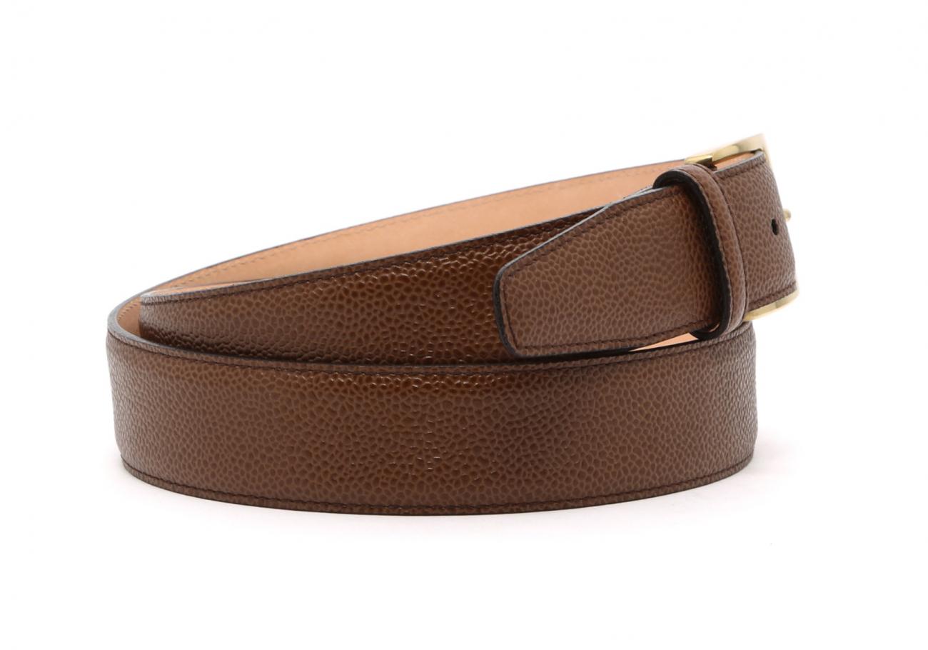 Light Brown Scotch Grain Leather Belt Brass Buckle9 1