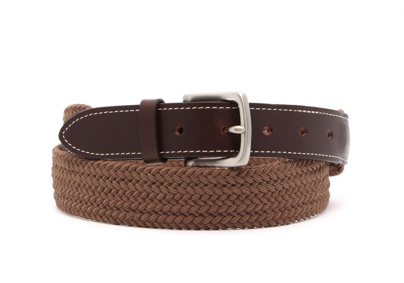 Light Brown Woven Elastic Belt Leather Trim1 4 10