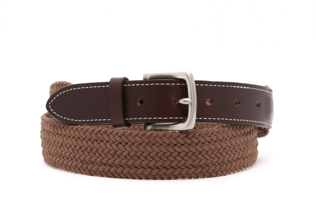 Light Brown Woven Elastic Belt Leather Trim1 4 1 1
