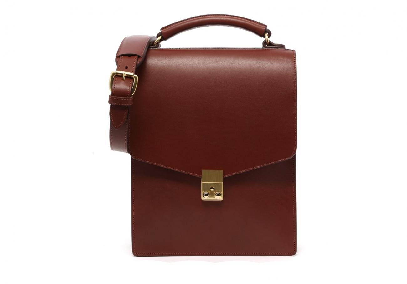 Locking Messenger Bag With Handle Chestnut2