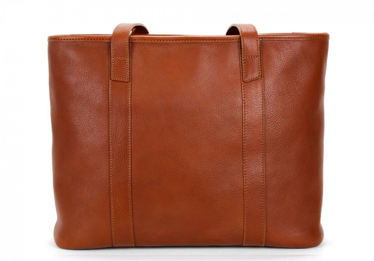 Medium Cognac Handmade Leather Laurlie Ziptop Tote Bag Made In Usa 1