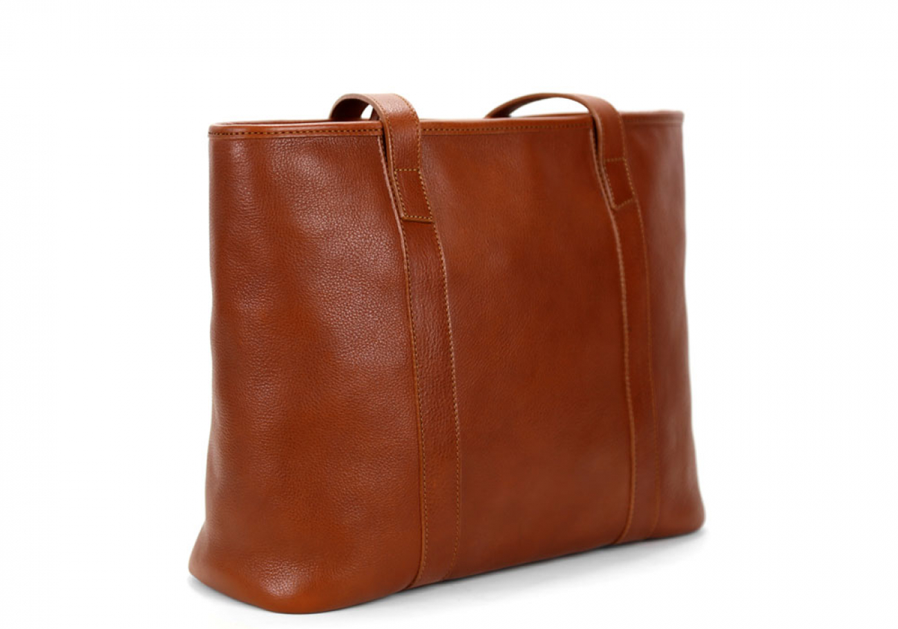 Medium Cognac Handmade Leather Laurlie Ziptop Tote Bag Made In Usa 2