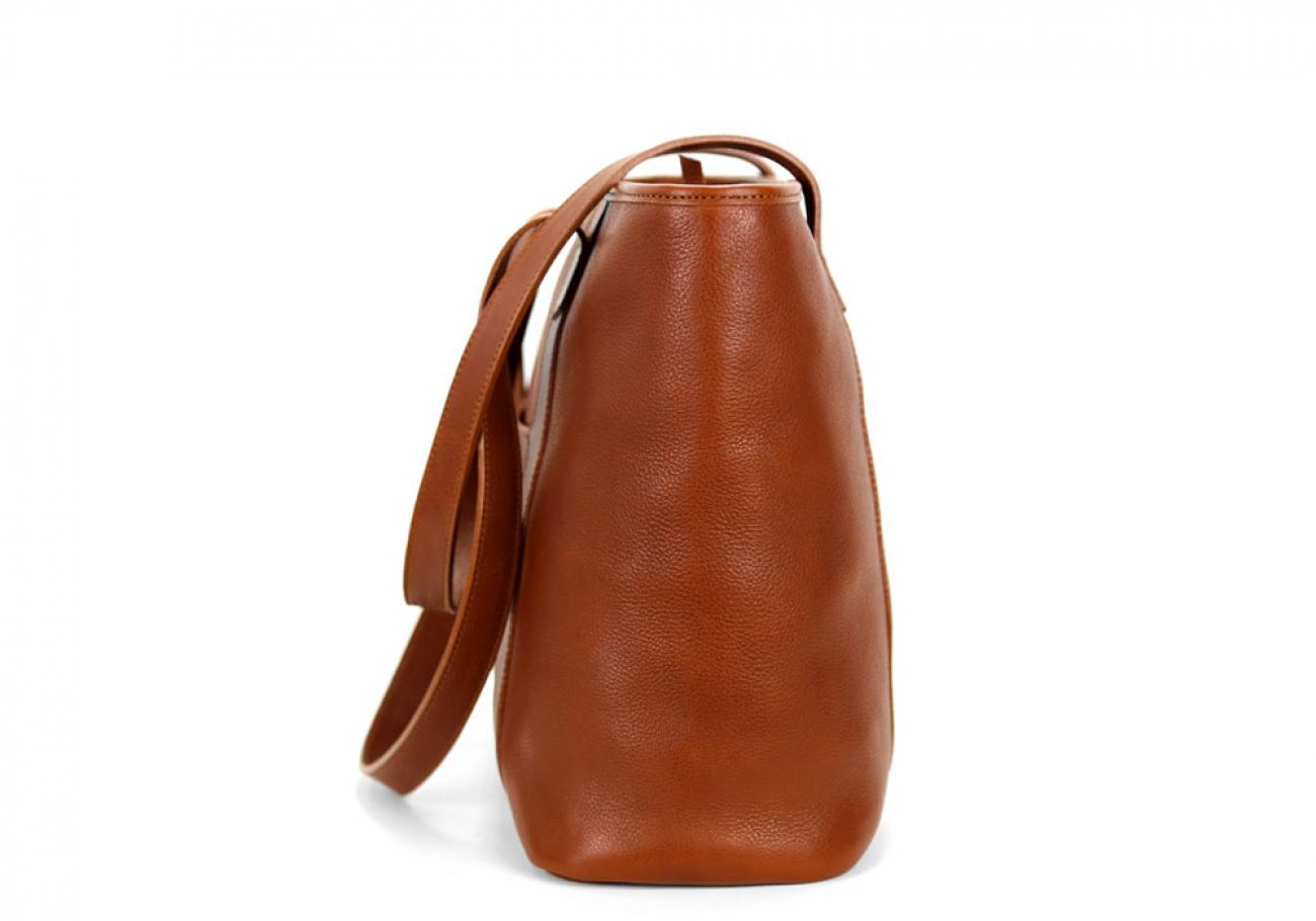 Medium Cognac Handmade Leather Laurlie Ziptop Tote Bag Made In Usa 3 Raw