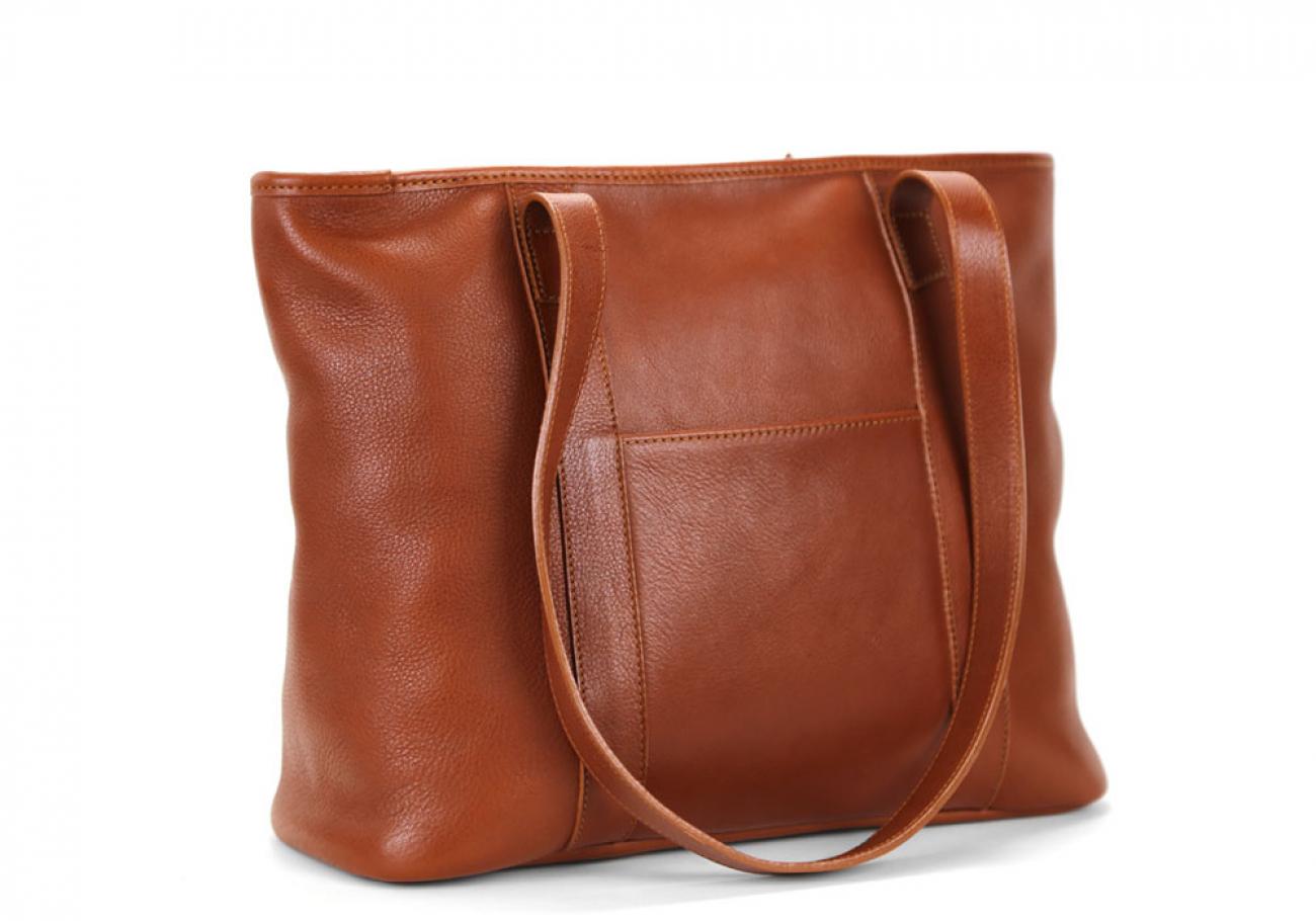 Medium Cognac Handmade Leather Laurlie Ziptop Tote Bag Made In Usa 4