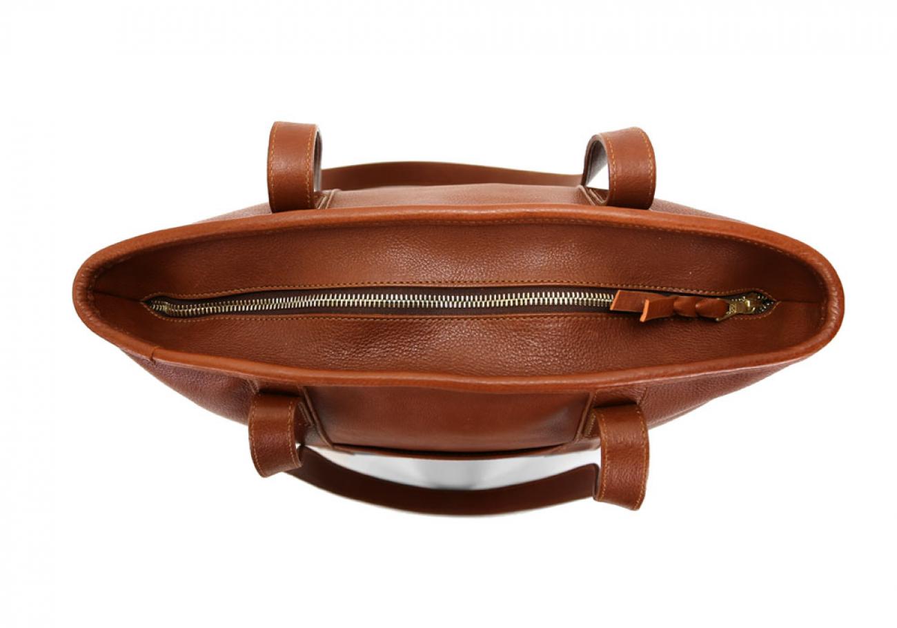 Medium Cognac Handmade Leather Laurlie Ziptop Tote Bag Made In Usa 6