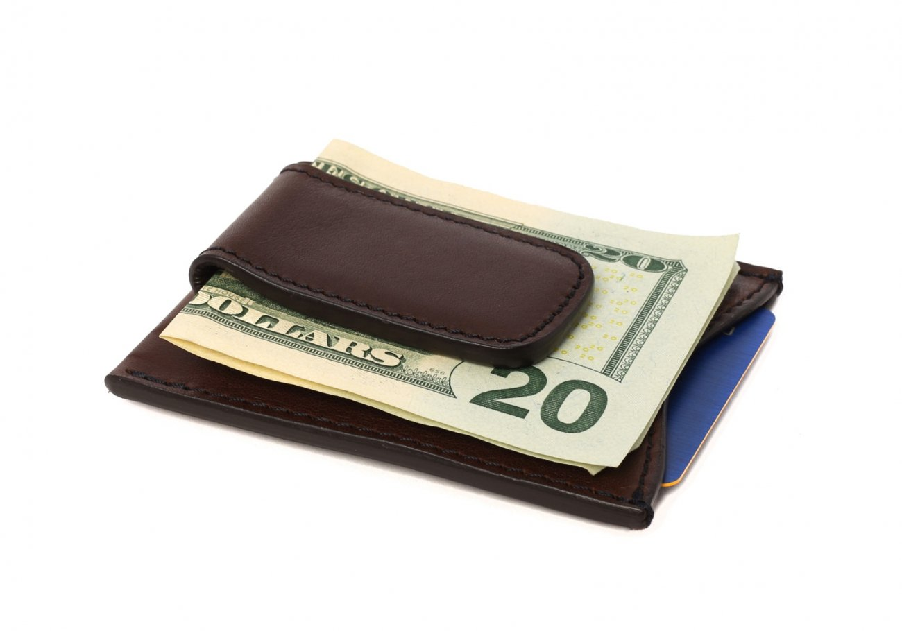 Money Clip Leather Wallet Chocolate 4 1