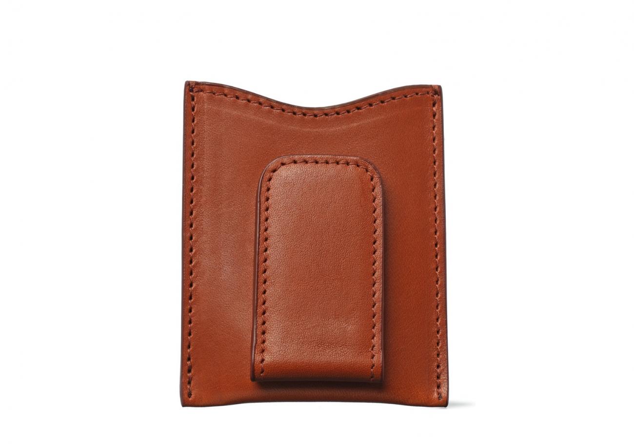 Money Clip Leather Wallet Cognac 2 1