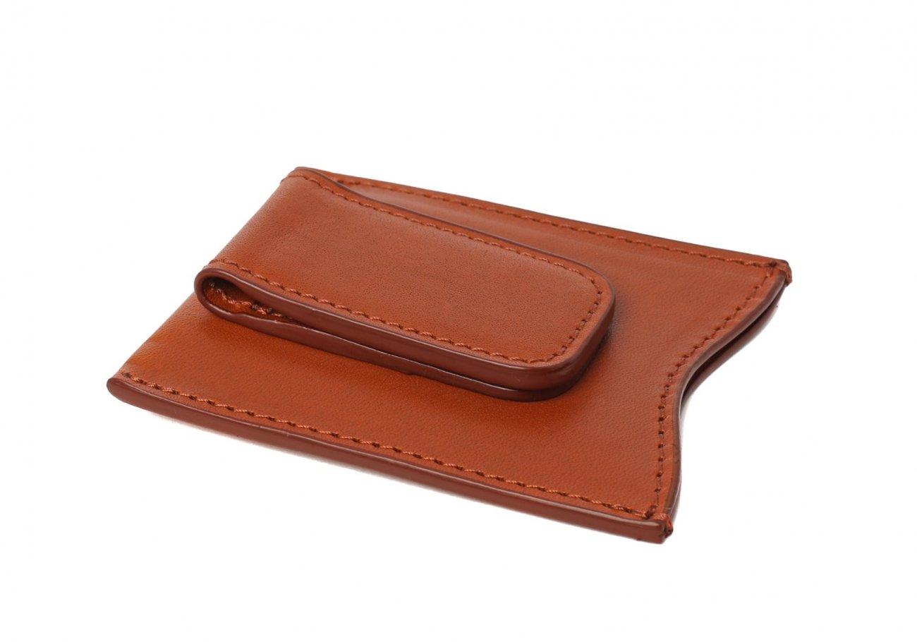Money Clip Leather Wallet Cognac 3 1