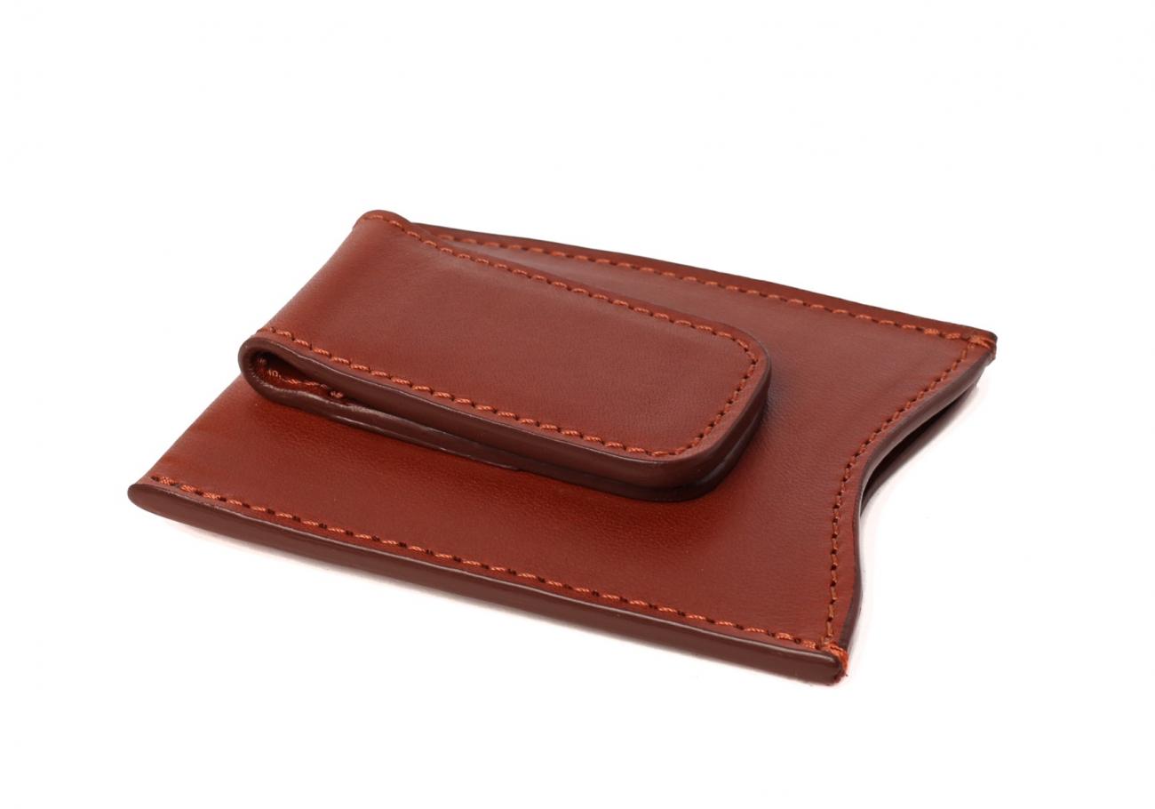 Money Clip Leather Wallet Chestnut 3 1