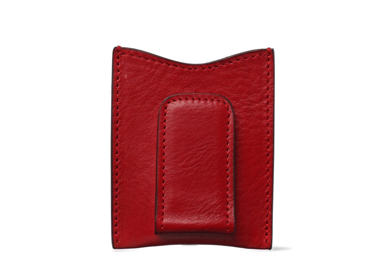 Money Clip Leather Wallet Red 2 1