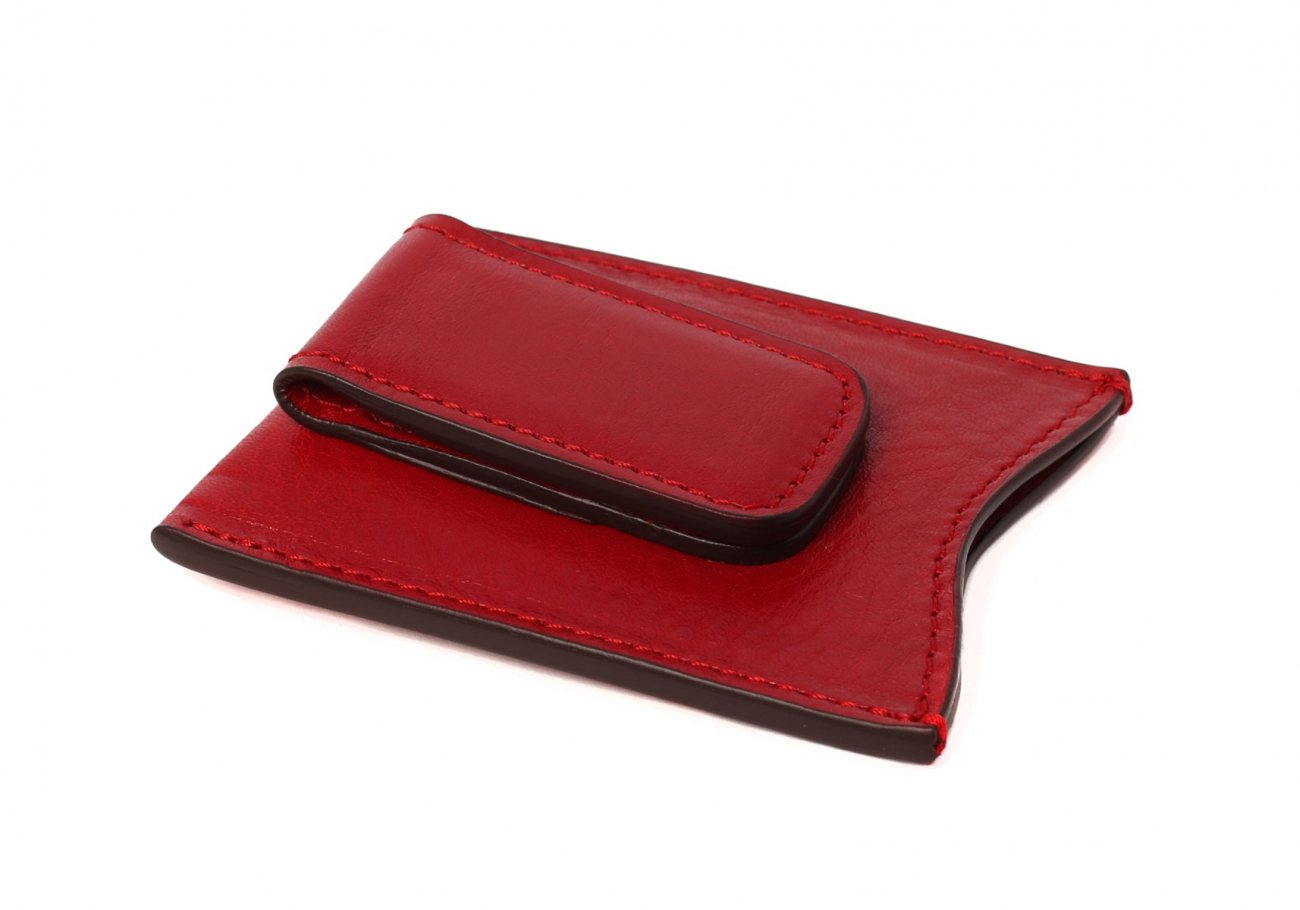 Money Clip Leather Wallet Red 3 1