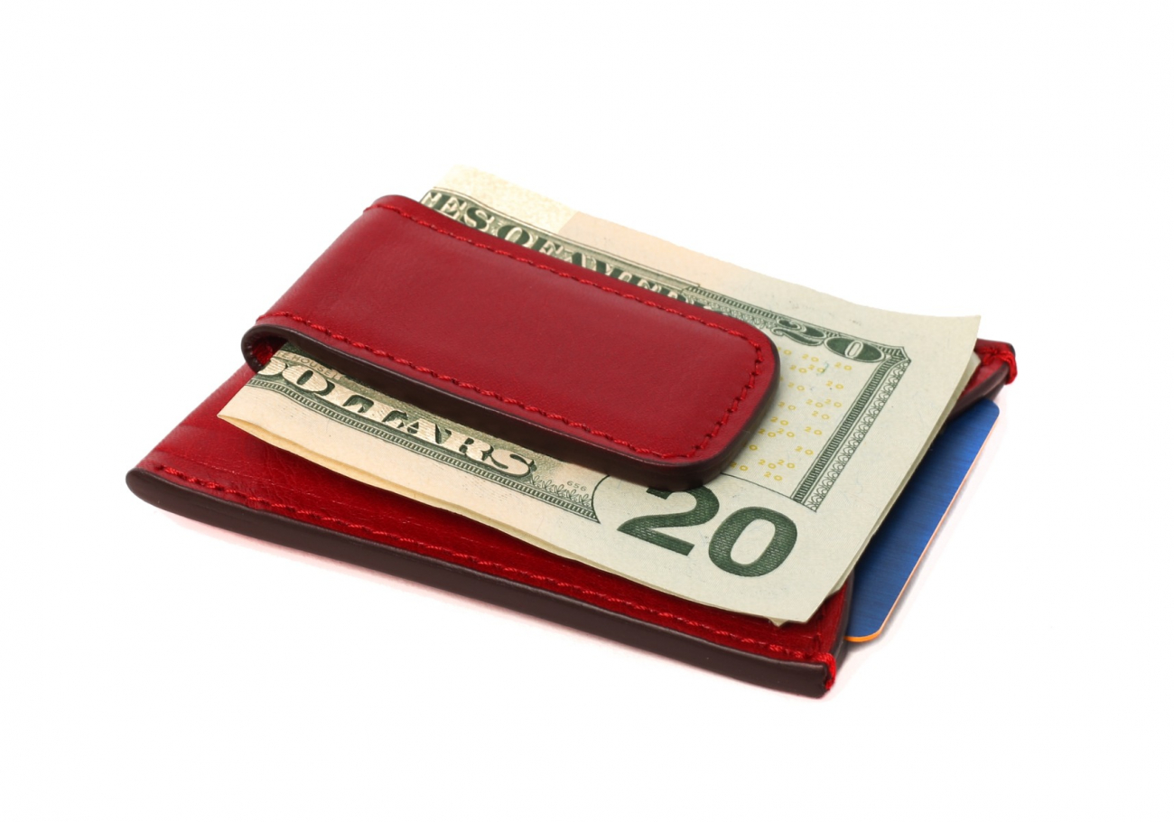 Money Clip Leather Wallet Red 4 1
